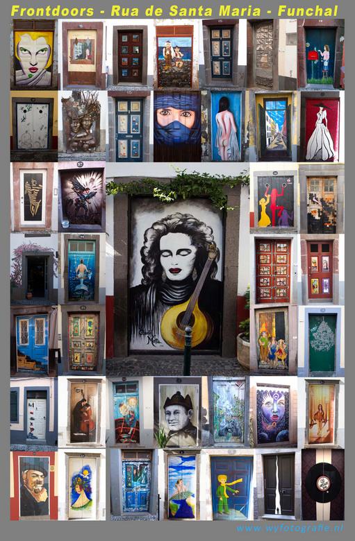 Deuren.jpg - De beschilderde deuren van de woningen aan de Rua de Santa Maria in Funchal (Madeira). Na de overstroming in 2010 is elke deur door plaat