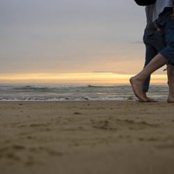 Eenzame strandwandeling