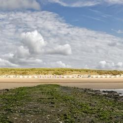 Panorama van het Texelse strand. (Paal12)