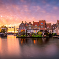 Glowing sunset in Enkhuizen
