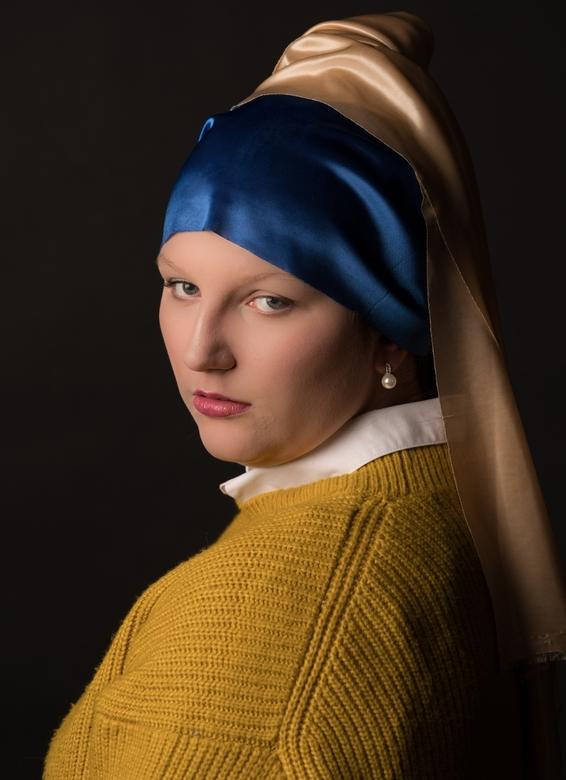 Meisje met de parel - Meisje met de parel van Vermeer proberen na te maken in de studio