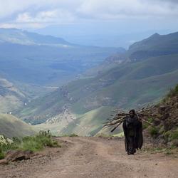 Locale inwoner van Lesotho op Sani Pass