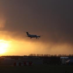Regen op de landingsbaan
