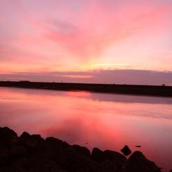 Kleurenmix tijdens zonsondergang