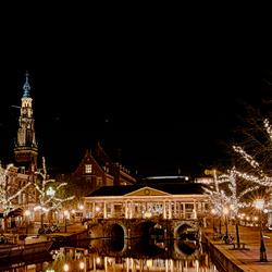 Korenbeurs Leiden bij nacht