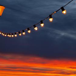 Lantaarn bij zonsondergang