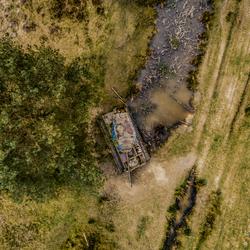 Verlaten tank vanuit de lucht gezien....