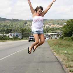 Springende dame