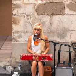 Op de Markt in Revel Lauragais keyboard spelende dame