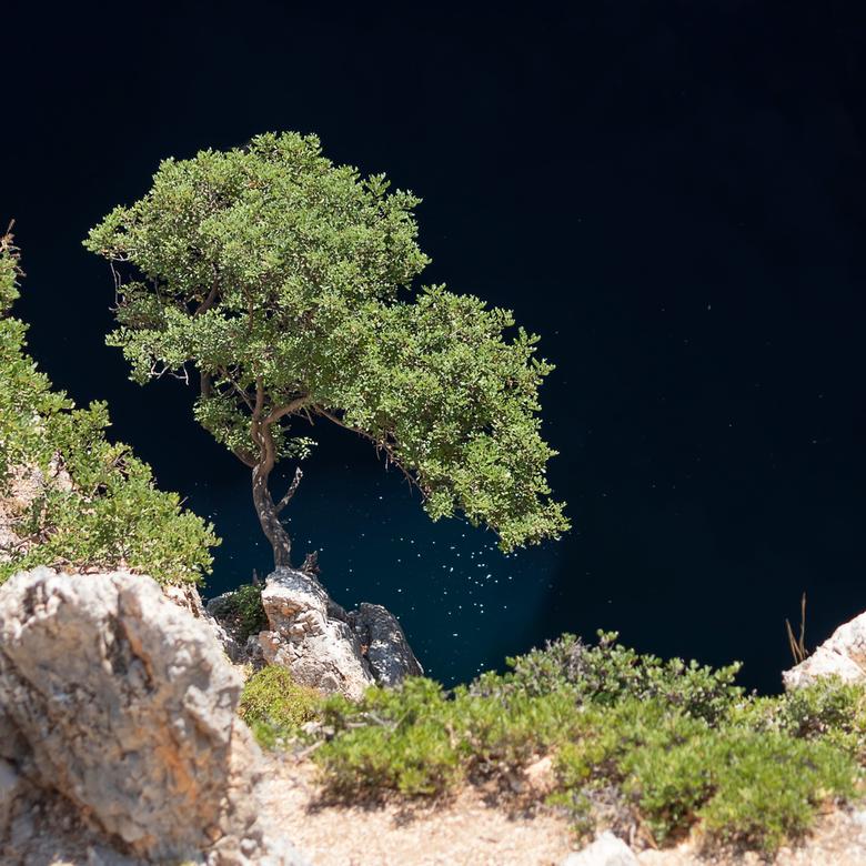 Limni Vourvoulitis - De hordes toeristen trappen na het lopen van de Kloof van de Heiligen op Kreta de slippers uit. Snel zoeken ze verkoeling in het