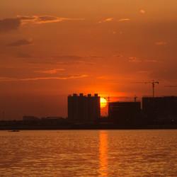 zonsondergang Pnom Penh Cambodja