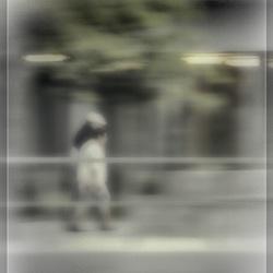Walking on the street.