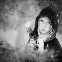 Roodkapje in zwart-wit