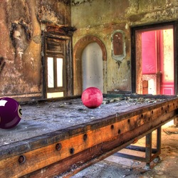 Big billiard balls in creepy house.