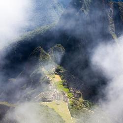 Machu Picchu in de mist