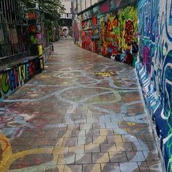 Graffitistraatje in Gent België.