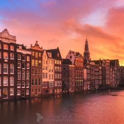 Amsterdam Damrak zonsondergang