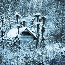 Tuin huisje in de sneeuw
