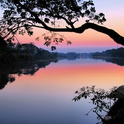 DAWN AT THE RIVERSIDE IN CHIANG MAI THAILAND