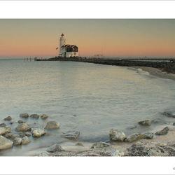 Sunset lighthouse Marken