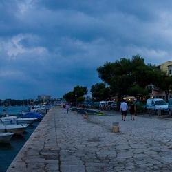 Panorama van de haven in Portocolom