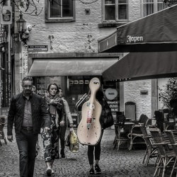 Cello on her back