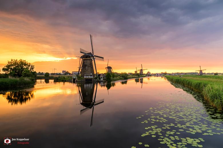 """Harps - <span style=""""font-weight:bold;"""">Harps.</span><br /> Een schitterende zonsondergang op Unesco Werelderfgoed Kinderdijk (Zuid-Holland, Nederlan"""