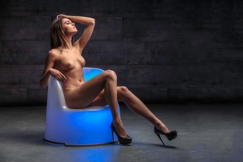 blue chair - model Anita Sikorska