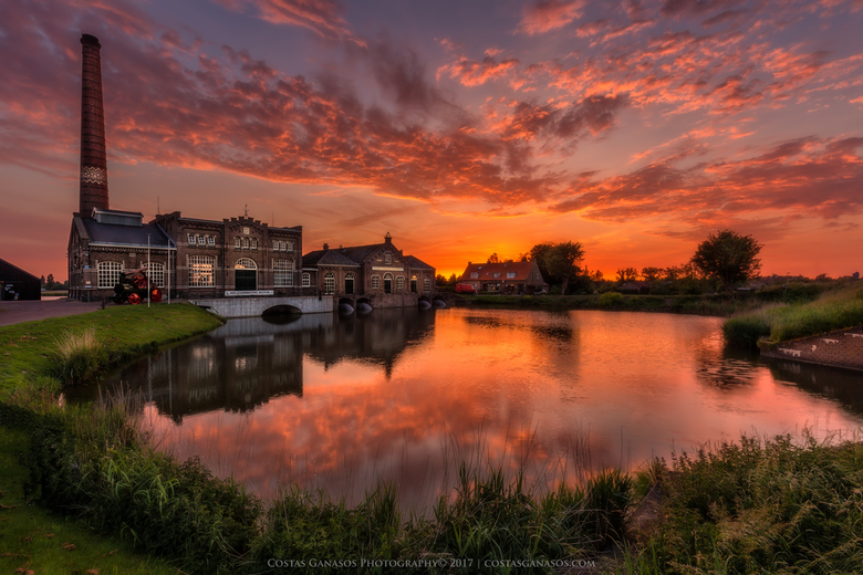 Sunset by the steam museum in Medemblik -