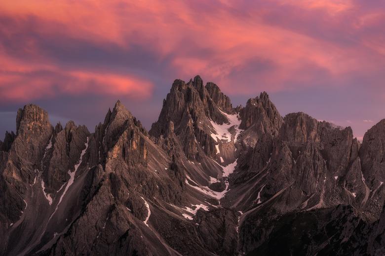 Zonsondergang Dolomieten  - Ook bij onze aankomst in Tre Cime werden we diezelfde avond getrakteerd op een prachtige zonsondergang, één van de mooiste