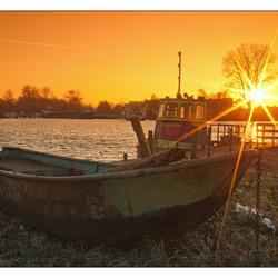 Boot op het droge