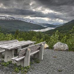 Uitzicht op de Gratangen-fjord.