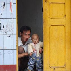 China, vader met kindje