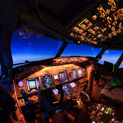 cockpit at night