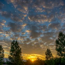 Zonsondergang na een mooie dag