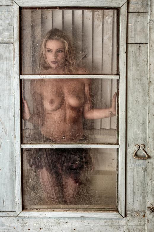 behind dirty glass - model Victoriah