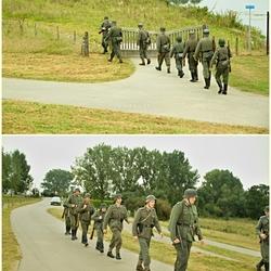 Oefenen reenactors Duitse Soldaten.