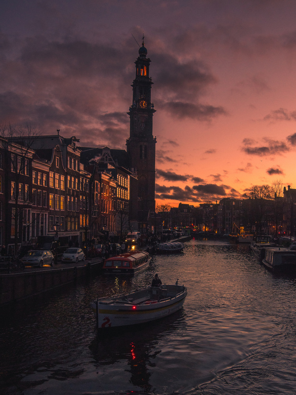 Zonsondergang Prinsengracht, Amsterdam!  -