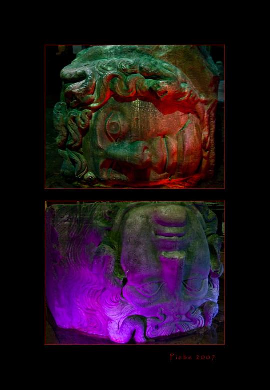 De medusa hoofden - De Basilica Cistern uit 532 was ooit de wateropslag van de stad. Het water werd uit het 19 kilometer verder gelegen Belgrado-bos g