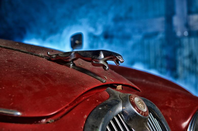 The old Jaguar - Deze oude Jaguar trof ik aan in een bijna vervallen romneyloods. <br /> <br /> Met twee reportageflitsers en een rookmachine aan de