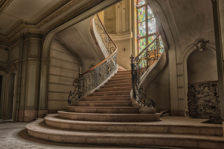 Chateau du Loup - Stairs in abandoned Belgian Castle