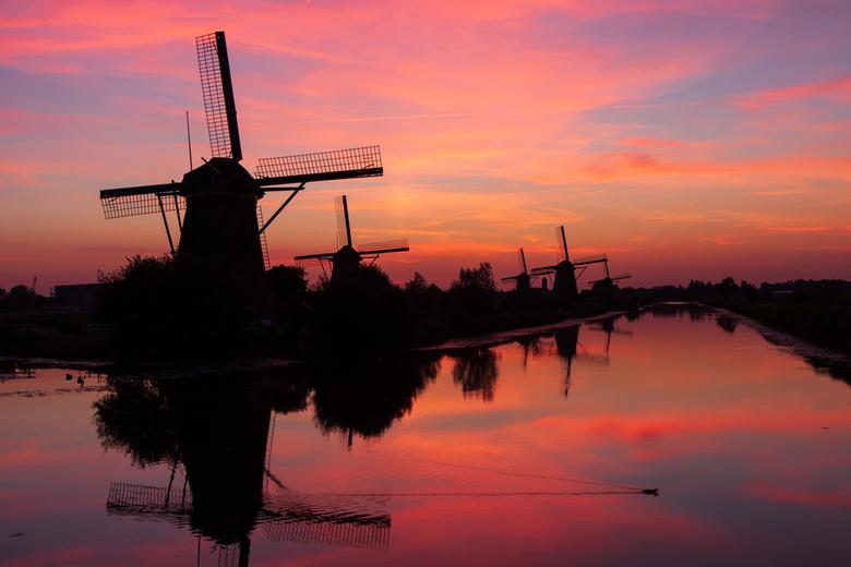 Magische kleuren op Kinderdijk - Magische zonsondergang op Kinderdijk