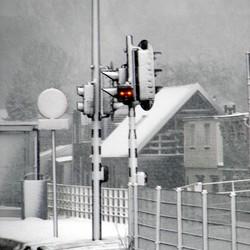 Busbaan in de sneeuw