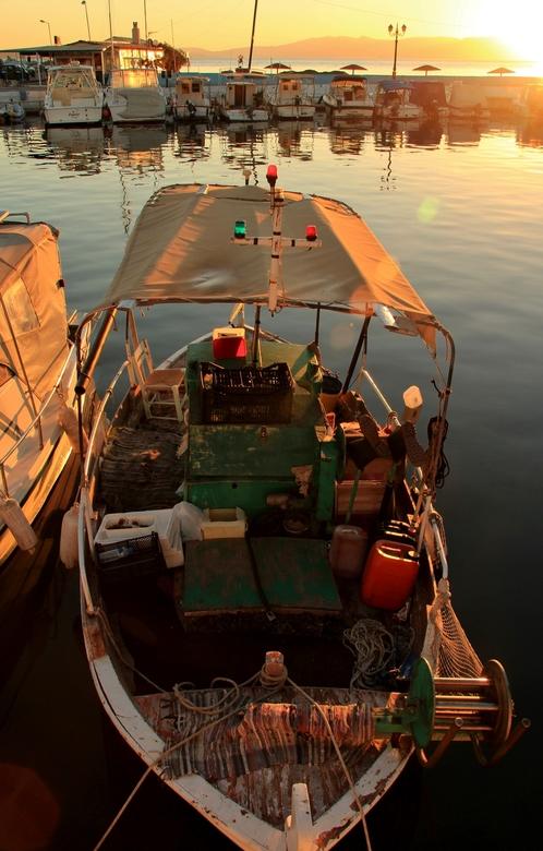 Vissershaven Nea Makri - Bij zonsopkomst komen de vissersbootjes binnen. Er is een levendige handel zo vroeg in de ochtend voor deze verse vis.