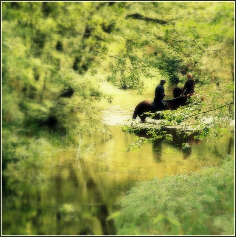 Horsemen - Deze ruiters gaven hun paarden wat verkoeling in een beekje bij de Boswachterij Heuvelse Heide in de buurt van Lommel.<br /> <br /> Ieder