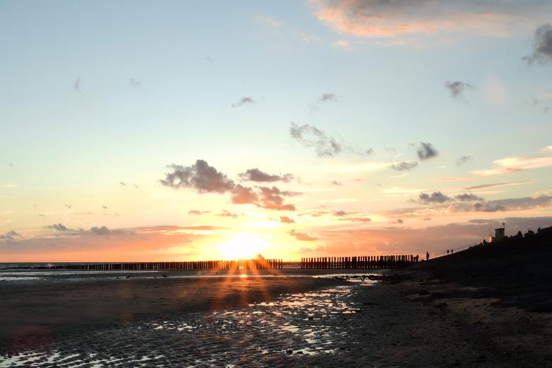 Zoutelande strand - Ondergaande zon, strand van Zoutelande