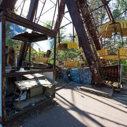 Prypiat (verdrijvingszone Tsjernobyl - Oekraïne) - Reuzenrad kermis die nooit is opengegaan