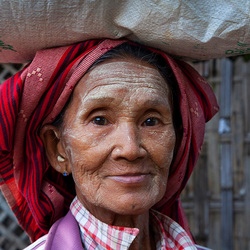 Marktvrouw Myanmar.