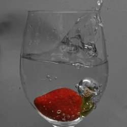 Aardbei in een glas