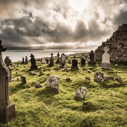 dark weather above graveyard